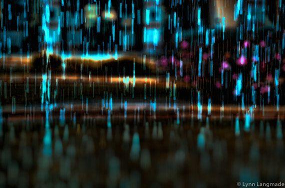 Fotografia astratta - pioggia aqua bokeh blu notte fotografia inverno foto…