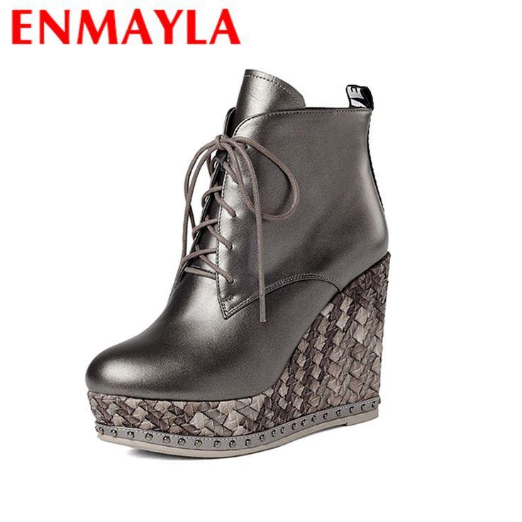 Encontre mais Botas das mulheres Informações sobre ENMAYLA Lace up Mew Ankle Boots para Mulheres Sapatos De Salto Alto Cunhas tamanho 34 39 Botas Sapatos de Plataforma Dedo Do Pé Redondo Outono e Inverno equitação, de alta qualidade botas de inverno, botas para mulher China Fornecedores, Barato ankle boots para mulheres de YQZ em Aliexpress.com