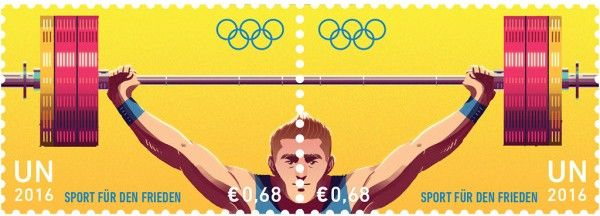 € 0.68 Weightlifting  UNPA issued a set of stamps to promote the contribution of sport to peace.  The stamps are issued ahead of the start of the Olympic Truce period for 2016 Summer Olympic and Paralympic Games in Rio de Janeiro, Brazil.