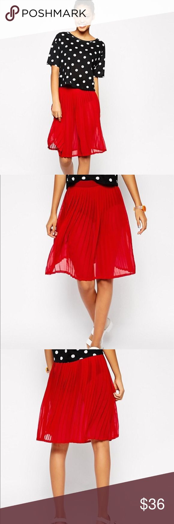 """American Apparel Red Chiffon Pleated Skirt This American Apparel Red Chiffon Pleated Skirt is beyond adorable! It's so chic and hipster like. It's very versatile! You can wear this skirt with ANYTHING! It's in PERFECT CONDITION! 100% Polyester. Knee Length. Zips up the side. It is sheer so you would need leggings or a slip. I wish it fit me or I wouldn't be selling it. Measurements: Waist 15"""" From Waist to bottom of skirt 23"""" Please check my closet out! New items listed daily! Original price…"""