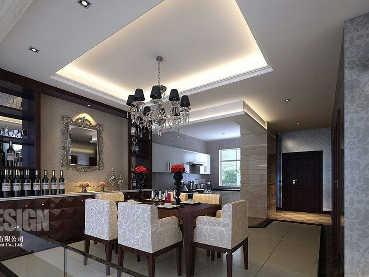 Dining Room:Luxury Modern Dining Room Ceiling Decorating With Black Glass Chandelier Dark Brown Laminated Wooden Table White Fabric Chair Mirror Dawnlight Black Vase Modern Dining Room Ceiling Decorating Ideas