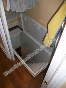 Underground stair steel storm shelters community for Hidden storm shelter