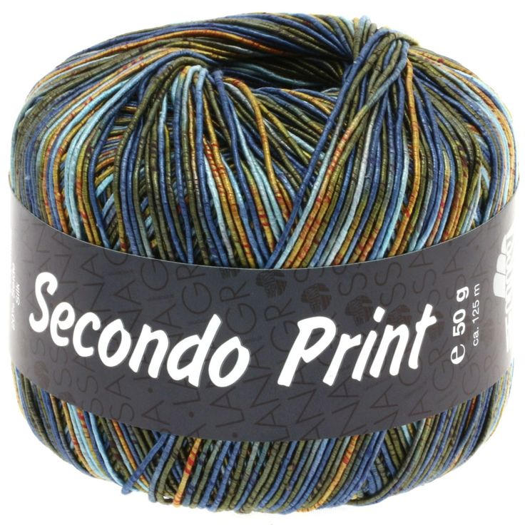 SECONDO print II 504-light blue/jeans blue/orange/dark olive/golden