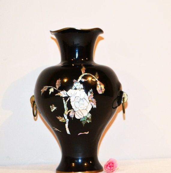 Vintage Vase Mother of Pearl on Black and Brass