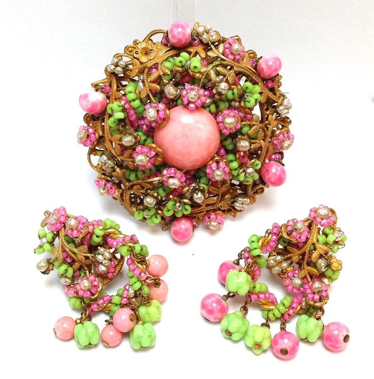 Vintage 1960s Miriam Haskell Huge Pink and Green Brooch Earring Set   eBay