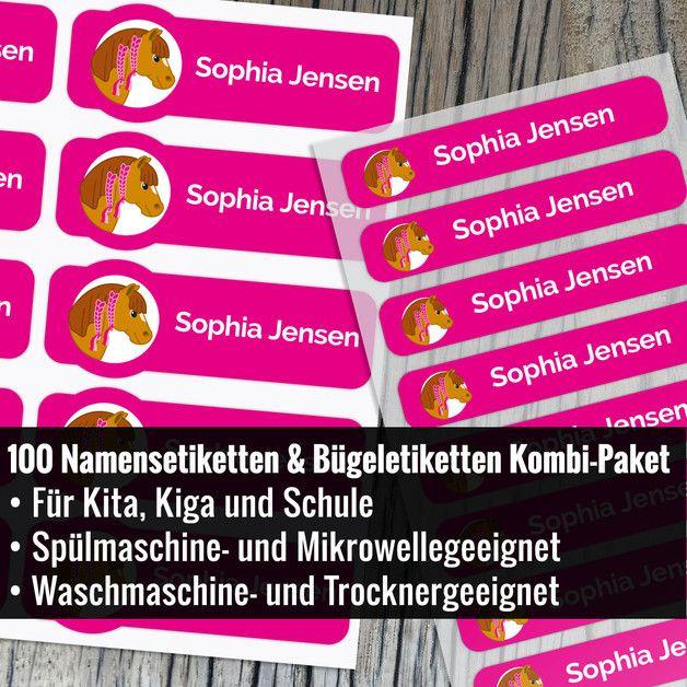 **100 Personalisierte Kombi Paket Namensaufkleber / Bügeletiketten / Namenssticker mit Pony**  **Menge:** 100 Personalisierte Etiketten mit Pony **Größe Namensaufkleber:** 50 mm / 18 mm **Größe...