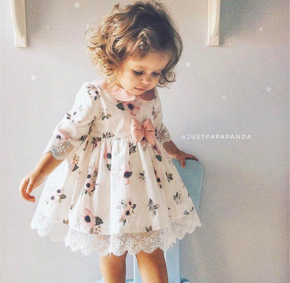 This flower girl dress with bow on waist made with love for your baby girl. In t…