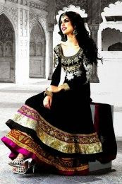 Double Layered Black Color Anarkali Suit