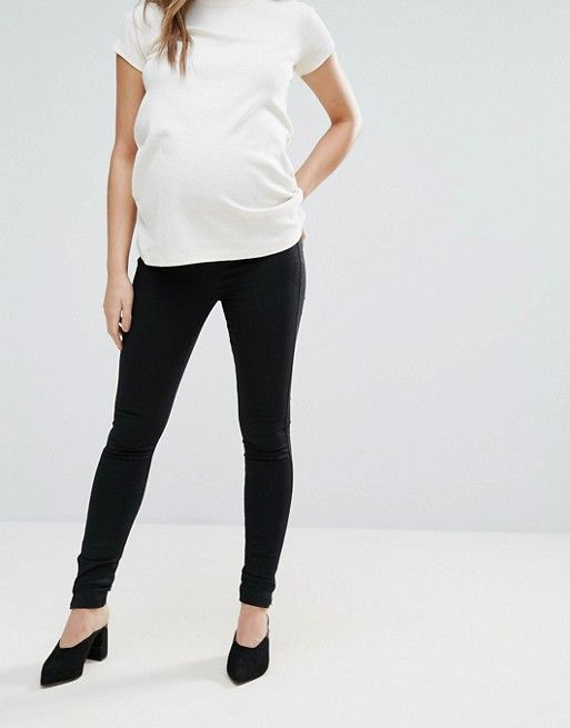 7bf0cbc0a34d4 DESIGN Maternity pull on jeggings in washed black with over the bump ...
