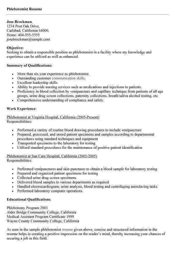 phlebotomy resume emt job description http resumesdesign
