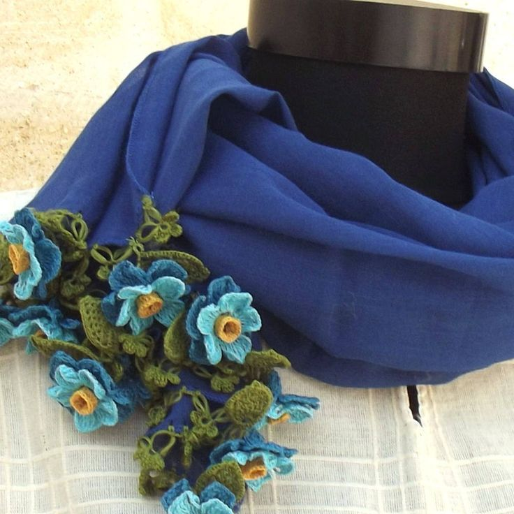 Turkish OYA Lace - Flower stole/Blue - Scarf Shawl For Her Gift For Women Winter Scarf Women Fashion Accessories by DaisyCappadocia on Etsy