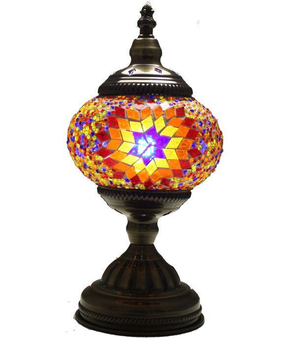 Vintage Blue Mosaic Desk Lamp, Handmade Turkish Light, Moroccan Table,  Bedside 2 #