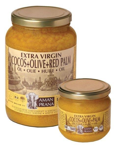 Biologische kokosolie, olijfolie, palmolie Fair Trade vetzuren: gezonde olie Amanprana