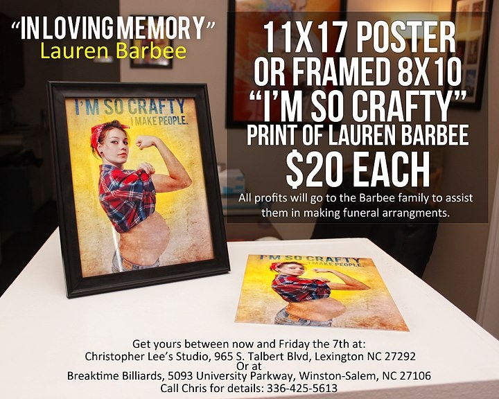 The Barbee Family is taking donations to help with funeral costs...you can purchase one of these posters of Lauren for $20, all proceeds go the family! PLEASE REPIN - In memory of Lauren Barbee.