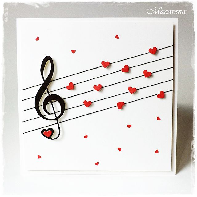Treble Clef and Lovely Links Fri-Dies from CAS-ual Fridays Stamps. Marzena knocked my socks off with this! I love that she used the little heart cutouts from the Lovely Links border dies to decorate her music measure. #music #casfridays #trebleclef