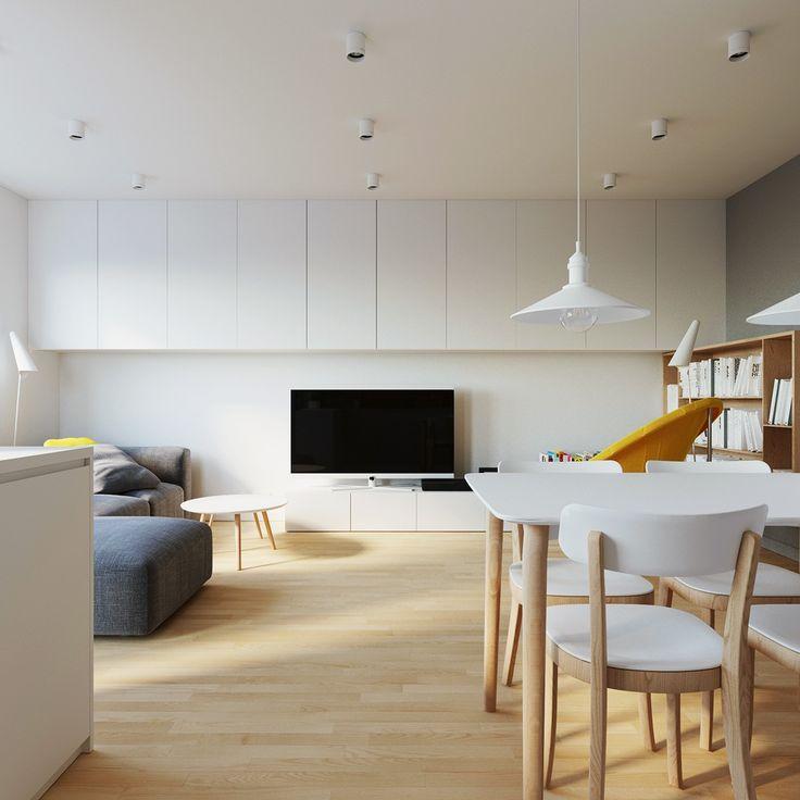 interior sc_lublin_poland on Behance Сочетание белого цвета стола и стульев и деревянных ножек. Интересное.