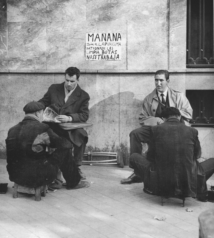 Spain. Limpiabotas (Shoeshiners) , Madrid ca. 1956