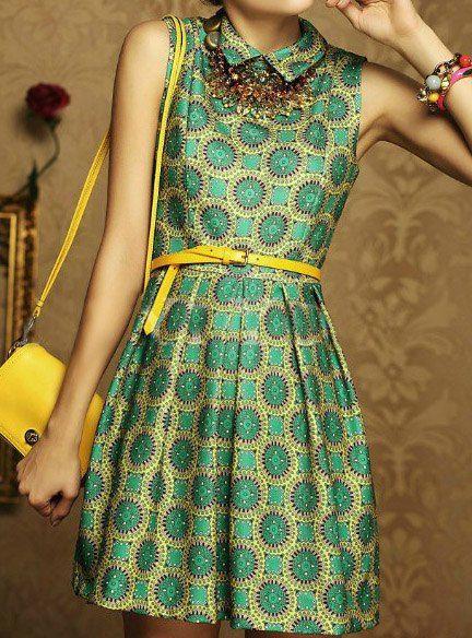 $13.36 Estilo Lindo de Poliéster Forma de A-Line de Turn-down Collar y Flor de impresión Vestidos 2014