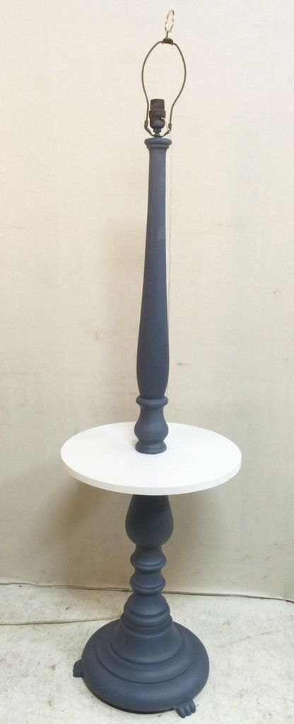 Antique Wooden Grey Floor Lamp with White Circular Table $95