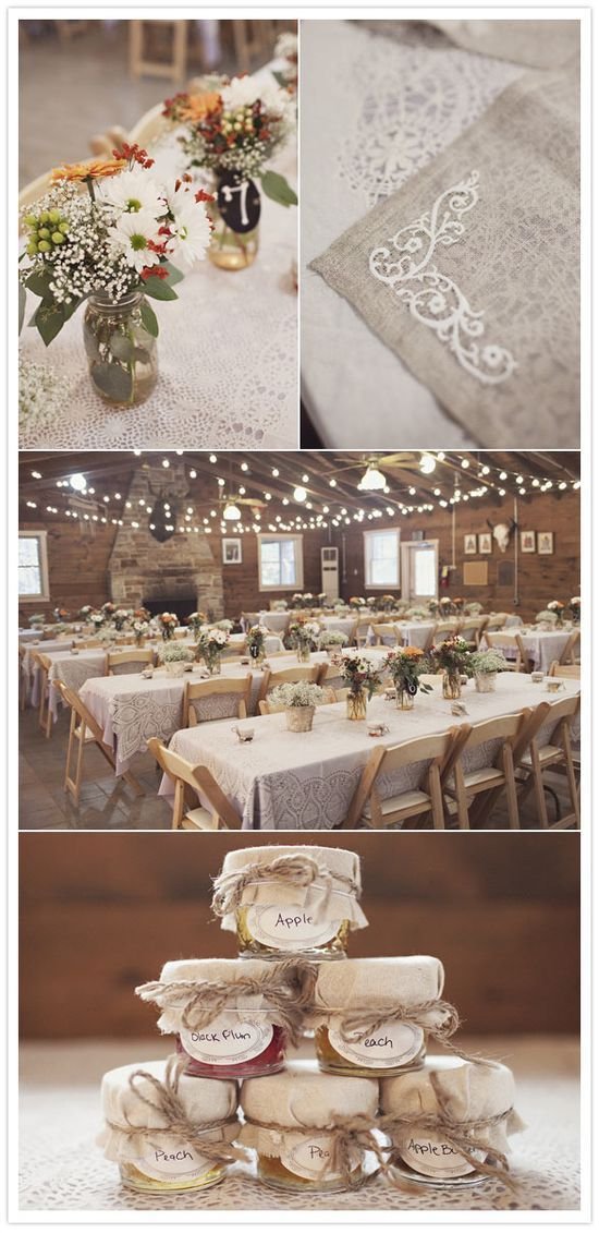 """100 mason jars with babies breath, mixed colored hypericum berries, orange limonium, seeded eucalyptus, white daisies and red gerbera daisies were laid out as centerpieces, giving the camp's newly built hacienda  a very woodsy, cozy, inviting and warm feeling."" photography by Sarah Culver    I need lace"