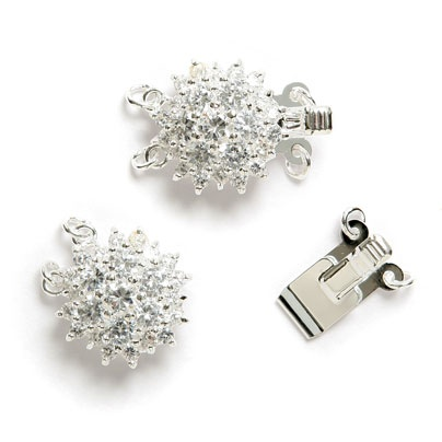 £2.47 Silver Plated Round Rhinestone Clasp  15mm