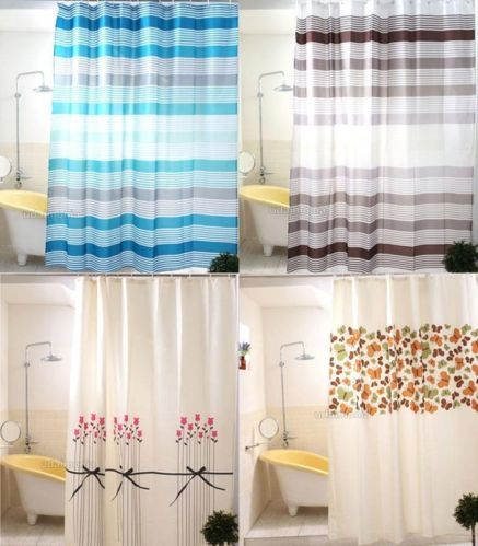 Polyester Shower Curtains w/ 12 Hooks Floral Stripe Ivory White Bathroom Curtain
