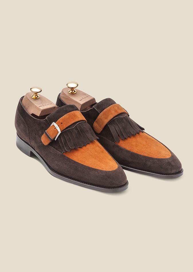 Handmade Men,s brown tan formal monk Shoes, Men dress shoes, Men suede shoes - Dress/Formal
