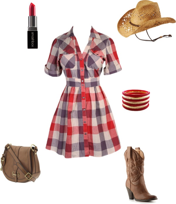 """A little country"" by mhartz on Polyvore: Fashion, Outfits Sets, Dreams Closet, Style, Plaid Dresses, Lace Up Boots, Cowgirl, Westerns Dresses, Westerns Shirts"