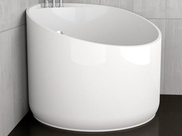 Baignoire d 39 angle ronde mini white by glass design design marco pisati - Mini baignoire d angle ...
