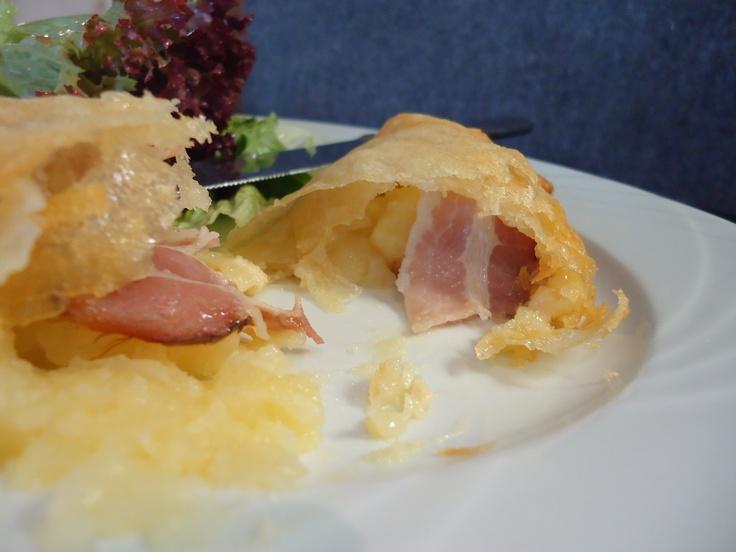 Munster, Lardon & potato in filo