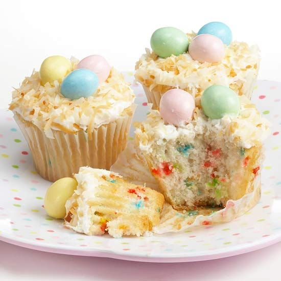 Easter Egg Cupcakes   Confetti cupcakes become fun Easter treats with a trio of candy-coated chocolate-covered peanuts set atop a bed of coconut and frosting. Bake a batch of cupcakes from a box of cake mix with confetti sprinkles, according to package directions. Spread white frosting on the finished cupcakes after they've cooled, and sprinkle toasted shredded coconut on top to resemble a nest. Finish with pastel candies.