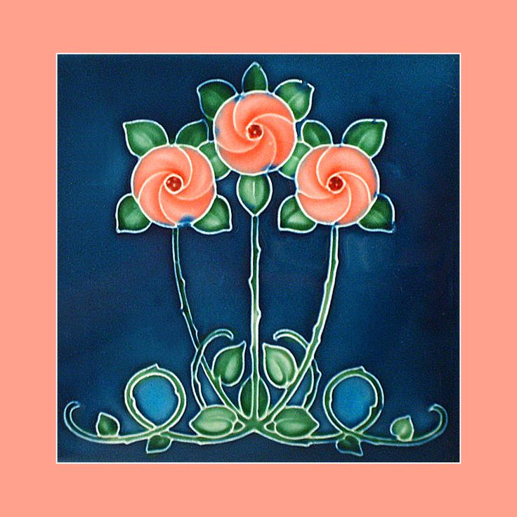 "33 Original Art Nouveau tile by Henry Richards (1909). Courtesy of Robert Smith from his book ""Art Nouveau Tiles with Style"". Buy as an e-card with a personalised greeting!"