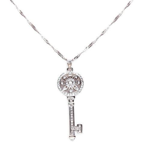 Delaney Crystal Key Necklace