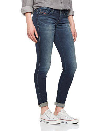 3a1ee6bb Diesel Skinzee-Low Pantaloni Jean Skinny Femme Bleu (Medium Blue 0679N) 29W  x 32L