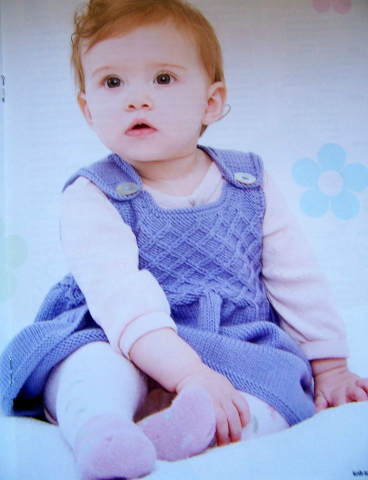 """KNITTING PATTERN BABY SMOCKED PINAFORE DRESS 18½-22½"""" Mag Extract Debbie Bliss in Crafts, Knitting, Patterns 