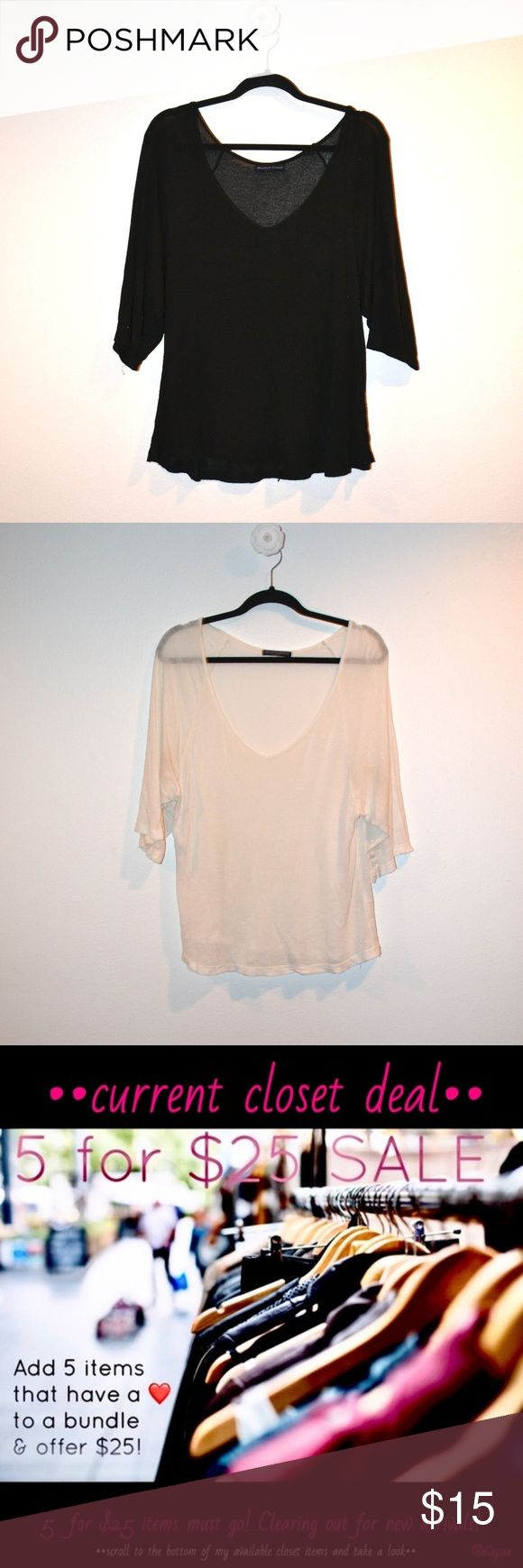 ❤️••brandy melville sheer batwing tops•• Brandy Melville, both one size. Black and off-white available. Excellent condition, some pilling. Super flowy and sheer, super cute with a bralette!  This is a 5 for $25 item in my closet! Bundle up 5 items from my closet with a ❤️•• in the title and offer $25. Check out with other items I have included in my 5 for $25 sale! Clearing out for spring boutique items! Brandy Melville Tops Tees - Short Sleeve