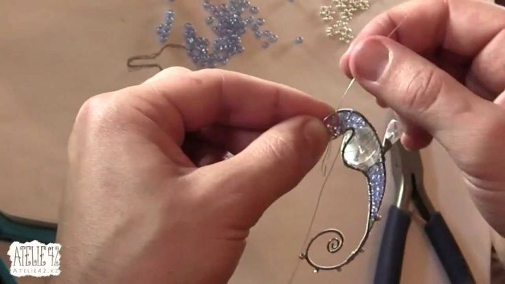sea glass and wire seahorse