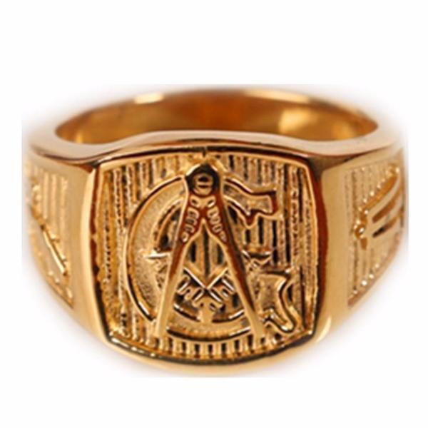 Gold Tone Freemason Ring