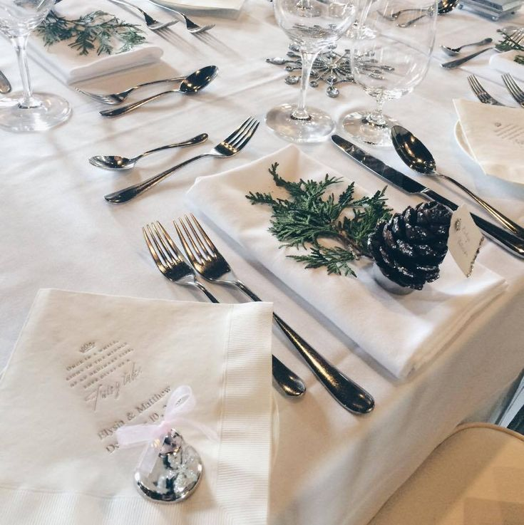 Place setting at a Winter Wonderland wedding #AncasterMill