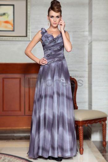 Abiti in Magazzino-grigio elegante di A-line Vestiti da sera lunghi formale