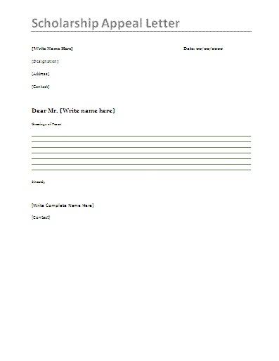 scholarship appeal letter