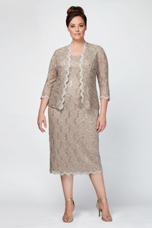 4180a2ab This sequin lace plus size tank dress is topped with a matching scalloped  jacket for the