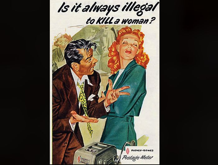 Pitney-Bowes Postage Meter - 13 Incredibly Sexist Ads from the Fifties - Purple Clover