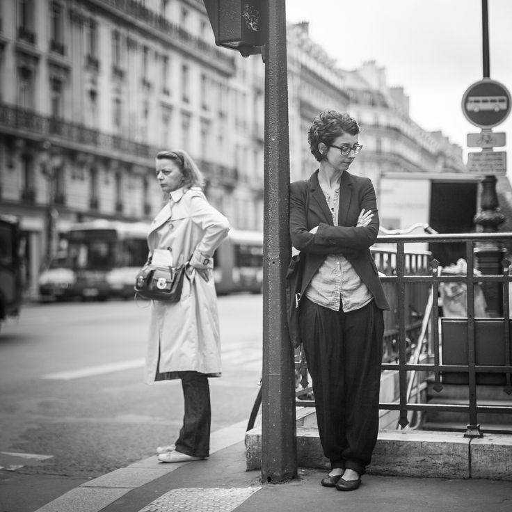 Paris girl waiting for the bus.