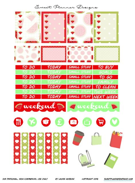 FREE Sweet Planner Designs: Watermelon Planner Stickers-Free Printable