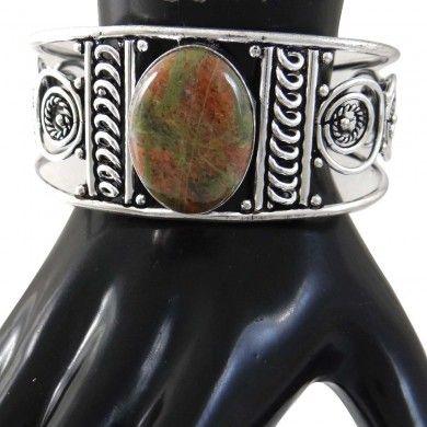 Silver Tone Metal Unakite Stone Adjustable Cuff Bracelet Fashion Jewelry Gift