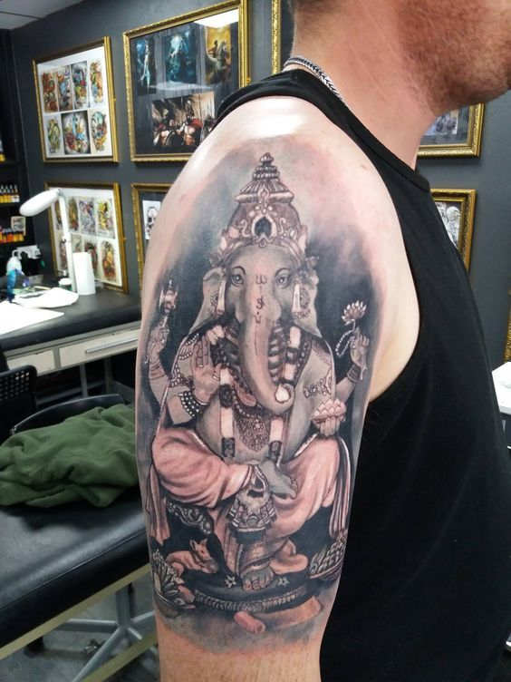 Ganesh tattoo by Arnost. Limited availability at Redemption Tattoo Studio.