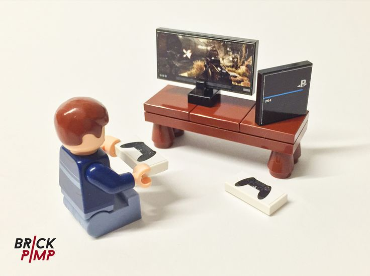Games console play station ps4 sticker for lego tiles and bricks on www