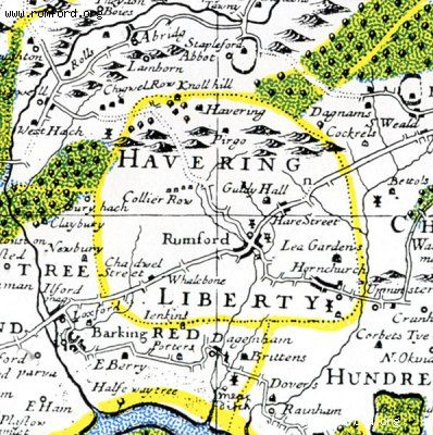 Old map of Romford & Havering