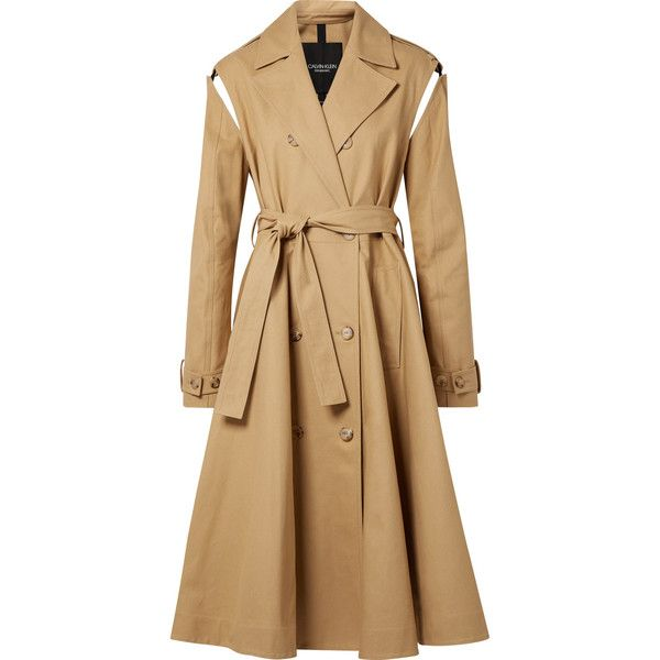 Calvin Klein 205w39nyc Convertible Double Breasted Cotton Twill Trench Found On Polyvore Featuring Outer Calvin Klein 205w39nyc Trench Coat Sale Trench Coat